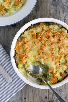 Ovenschotel met prei en zoete aardappel