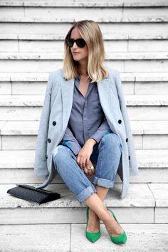 Grey wool coat, grey shirt, green heels