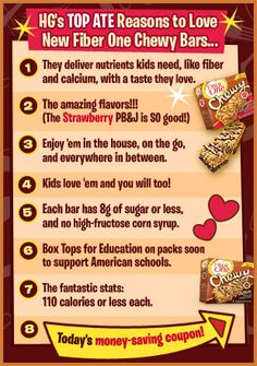 HG's TOP ATE Reasons to Love New Fiber One Chewy Bars!!