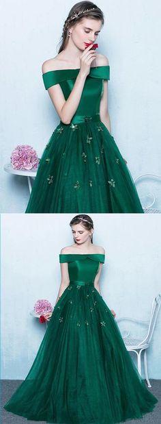 Deep green tulle off shoulder long strapless prom dress, long evening dress #prom #dress #promdress #promdress