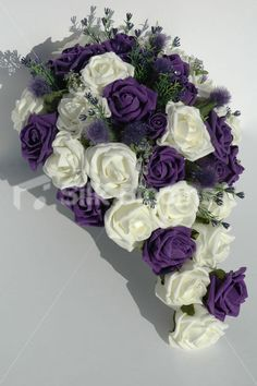 Purple and Ivory Teardrop Bouquet with Scottish Thistles & Roses
