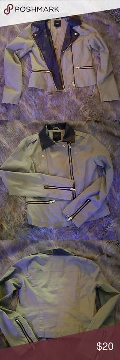 Army green moto jacket Wore couple of times, great condition! Army green with double zippers at closure and zippers on sleeve. Gold hardware. Forever 21 Jackets & Coats Utility Jackets