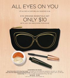 Get our best-selling eye care product and an award-winning mascara for a fraction of the cost, in a cute multi-purpose pouch!  And, if you spend $40 in my online store, you can get this bundle for only $10. PLUS you'll get free shipping! It's a win/win! This special Eye Essentials bundle would make a great gift! Product #:721-200