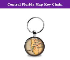 Central Florida Map Key Chain. A 1'' round pendant featuring a vintage map of Central Florida. Pendant is attached to a key ring.