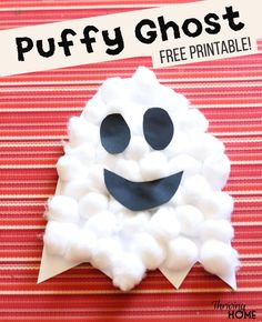 Easy Halloween Craft for preschoolers: Puffy Ghosts. Free printable included! Little hands love the different textures and how quickly this easy craft comes together. Great activity for classroom Halloween parties! #halloweencraft #halloweenparty #preschoolcraft #halloweenidea #preschoolhalloween
