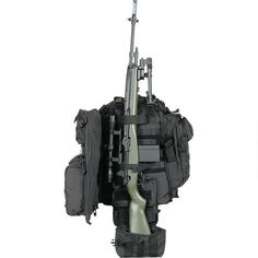 Voodoo Tactical Praetorian Rifle Pack with adjustable padded shoulder straps, multiple pockets for tons of gear, universal webbing, hydration-compatible, straps to secure rifle, padded laptop pocket. Double-stitched and bar tacked. You won't need another