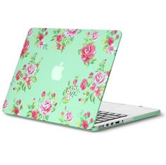 Kuzy - Retina 15 inch Vintage Flowers Mint Green Rubberized Hard Case for MacBook Pro inch w/ Retina (Newest Version) Cover - Vintage Flowers Mint
