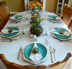 Colorful Table Setting for Spring with Bird's Nest Garden Centerpieces | A Bird's Nest Themed Easter Table | AnExtraordinaryDay.net