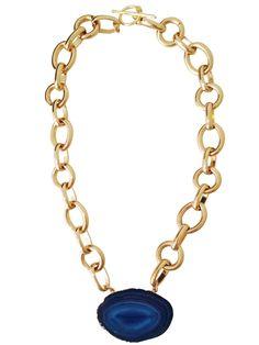 Capri Blue Agate Slice Pendant Necklace