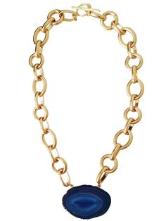 """- A Beautiful Agate Slice* Dipped in 24k Gold Set on a 24k Gold Filled Large Link Chain - Necklace Measuremes: 17"""" Long Product Care: Avoid exposure to water, lotion and perfume. Clean with a damp jew"""