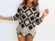 Пуловер крючком из бабушкиных квадратов.