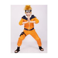 Yellow Deep Blue Naruto Uzumaki Naruto Cosplay Costume via Polyvore featuring costumes, naruto, cosplay costumes, yellow costume, cosplay halloween costumes and role play costumes
