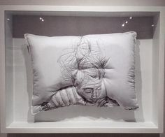 """Sleep Series""- Sleeping People Embroiders Design Into Handmade Pillows by Maryam Ashkanian.|CutPasteStudio|Illustrations, Entertainment, beautiful,creativity, Art, Artwork, Artist, nature, Sleep Series, sculptures."