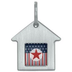Patriotic Stars and Stripes American Flag Design Pet Name Tags