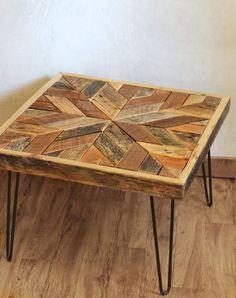 barn wood coffee table – herringbone table – hairpin legs