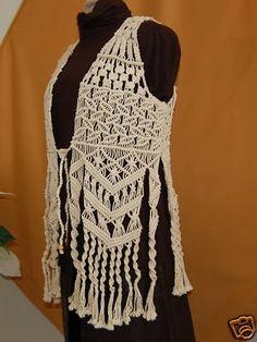 dycdesign : Vintage Hippie 1960's MACRAME Vest! Hand knotted ART