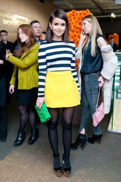 striped shirt, yellow pencil skirt,