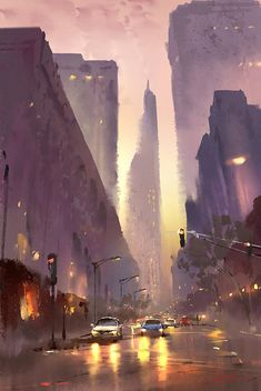 Kai Fine Art is an art website, shows painting and illustration works all over the world. Watercolor City, Watercolor Painting, Illustrations, Illustration Art, City Painting, Painting Art, Cityscape Art, Environmental Art, City Art