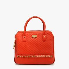 Bodhi Quilted Triple Compartment Satchel In Tangerine Tango (=)