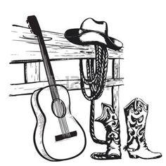 cowboy WESTERN: Affiche de la musique country de l'Ouest avec des vêtements de cow-boy et la musique de fond de guitare pour le texte
