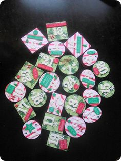 See some cute Advent Calendar ideas at Thrifty Decor Chick! Advent Calendar Fillers, Advent Calendars, Christmas Words, Christmas Holidays, Christmas Mantels, Christmas Decorations, Used Cardboard Boxes, Thrifty Decor Chick, Christmas Gift Guide