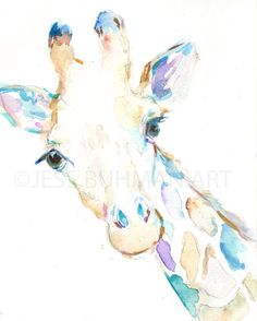 George the Giraffe by Jessica Buhman, Print of Original Watercolor Painting, 8 x 10 Giraffe Zoo Animal Painting