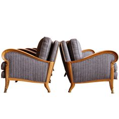 French Art Deco Set of 3 Armchairs and Settee, Signed