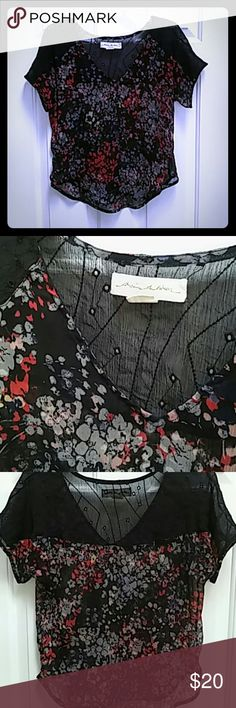 Sheer Black Floral Tee Super cute Staring at Stars top. Pairs perfect with red Pilcro jeans on my closet! Sheer, adorable with a black brallette underneath. Blue, grey, red, and a tiny bit of,yellow floral patern on black. In like new condition. Urban Outfitters Tops Tees - Short Sleeve
