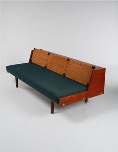 Hans J. Wegner; #9 Teak and Cane Adjustable Daybed for Getama, c1955.