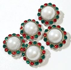 23mm red & green rhinestone w/ white pearl center Christmas acrylic button - MAE Inspirations