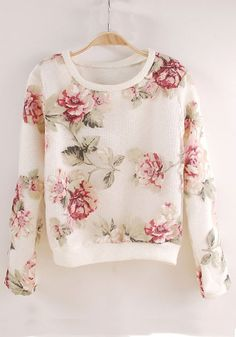 White Flowers Print Long Sleeve Acrylic T-Shirt