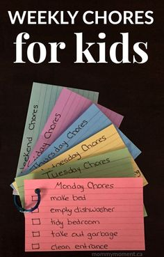 These Weekly Chores for Kids are a great way to lay out what is expected of your child while focusing on different chores throughout the week.