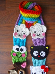 sanrio scarf - crochet pattern for sale on Ravelry for 9.99
