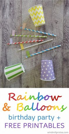 Ideas with free printables for a rainbow and balloons themed kids party. Inspiration for diy Rainbow and Balloons themed children's party. Birthday Party Places, First Birthday Party Themes, Kids Party Themes, Diy Birthday, Rainbow Birthday, Party Ideas, Fun Games For Kids, Diy For Kids, Rainbow Balloons