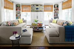 Play With Symmetry - 50 Best Small Space Decorating Tricks We Learned in 2016 - Southernliving. In a cozy family room, oversized sofas can be perfect for movie nights, reading hours, and long afternoon naps. If you aren't concerned with having lots of room to move, fill a small space with comfy, symmetrical seating. Big sofas that mirror each other create an eye-pleasing design that will keep the space feeling clean, not crowded. It will become everyone's favorite nook.