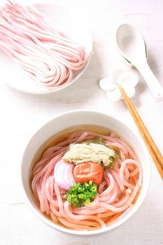 Ume udon: umeboshi-flavored udon noodles, in dashi soup