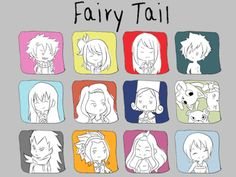 Fairy Tail - Natsu, Gray, Gajeel, Lucy, Erza, Wendy, Cana, Juvia, Levy, Lisanna, Mirajane, Lily panther, Happy and Carla