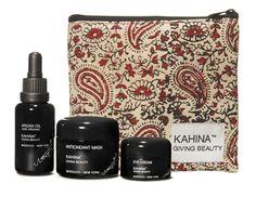 Kahina Giving Beauty Spa Set: Argan Oil, Eye Cream, Antioxidant Mask in Paisley Pouch