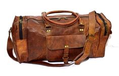 Firu-Handmade 20' Vintage Style Leather Brown Duffel Gym Sports Luggage Travel Bag Handmade >>> Want additional info? Click on the image.