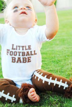 Baby Set- Baby Onesie & Baby Legwarmer of Little Football Babe, $25.50