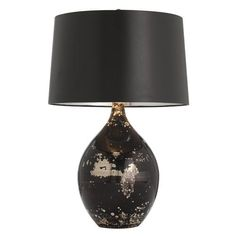 Arteriors black reactive glass lamp.  Would like it more with a bright shade like red or teal