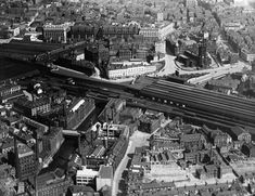 Aerial view of Manchester Exchange, Victoria railway stations, and Manchester Cathedral, Aug, Manchester Cathedral, Salford, Nottingham, Aerial View, Over The Years, Paris Skyline, Britain, City Photo, England
