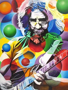 Jerry Garcia - The Grateful Dead. Their harmonies. Music Pics, Music Artwork, Rock N Roll, Grateful Dead Image, Bubble Painting, Age Of Aquarius, Punk, Psychedelic Art, Concert Posters