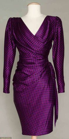 Fabulous 1980s Dress by Yves Saint Laurent - great shape, great color, and great style!