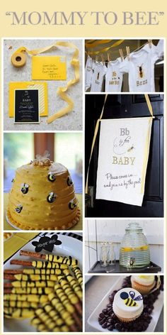 """Mommy to """"Bee"""" bumblebee-themed baby shower. Super cute for a non-gendered shower. I reallyyyy want something like this for my baby shower. Shower Party, Baby Shower Parties, Baby Shower Themes, Baby Shower Gifts, Baby Gifts, Shower Ideas, Baby Showers, Bridal Shower, Unisex Baby Shower"""