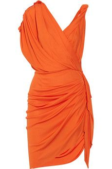 Draped crepe-jersey dress - not sure of the orange, but love the style.  I would love this in salmon.