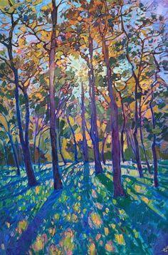 Woodlands pines original oil painting for Texas landscape art collectors, Erin Hanson Landscape Artwork, Contemporary Landscape, Landscape Lighting, Landscape Oil Paintings, Landscape Design, Landscape Rake, Dark Landscape, Landscape Fabric, Watercolor Landscape