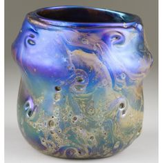 Blue Art Glass Swirl Vase Sold $1,200