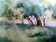 Binary Colors - Paintings by Michele Clamp: Trees with Sterling Edwards - number 2 Watercolor Pictures, Watercolor Trees, Watercolor Landscape, Abstract Watercolor, Watercolor And Ink, Landscape Art, Watercolor Painting Techniques, Watercolour Painting, Painting Trees