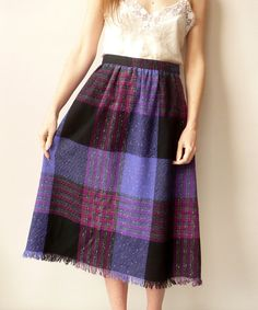 Vintage Check Grunge Tartan Wool Midi Skirt With by 5678Vintage